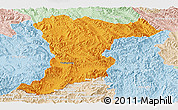 Political Panoramic Map of Jinghong, lighten