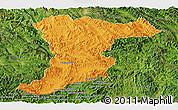 Political Panoramic Map of Jinghong, satellite outside