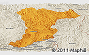 Political Panoramic Map of Jinghong, shaded relief outside