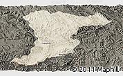 Shaded Relief Panoramic Map of Jinghong, darken