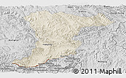 Shaded Relief Panoramic Map of Jinghong, desaturated