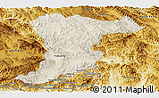 Shaded Relief Panoramic Map of Jinghong, physical outside