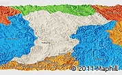 Shaded Relief Panoramic Map of Jinghong, political outside