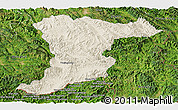 Shaded Relief Panoramic Map of Jinghong, satellite outside