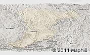 Shaded Relief Panoramic Map of Jinghong, semi-desaturated