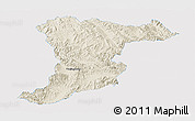 Shaded Relief Panoramic Map of Jinghong, single color outside