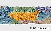 Political Panoramic Map of Kaiyuan Shi, semi-desaturated