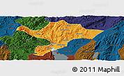 Political Panoramic Map of Kuenming Shiqu, darken