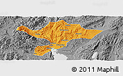 Political Panoramic Map of Kuenming Shiqu, desaturated