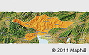 Political Panoramic Map of Kuenming Shiqu, satellite outside