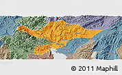 Political Panoramic Map of Kuenming Shiqu, semi-desaturated
