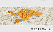 Political Panoramic Map of Kuenming Shiqu, shaded relief outside