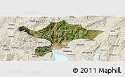 Satellite Panoramic Map of Kuenming Shiqu, shaded relief outside