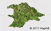 Satellite Panoramic Map of Lancang, cropped outside