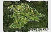 Satellite Panoramic Map of Lancang, darken