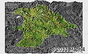 Satellite Panoramic Map of Lancang, desaturated