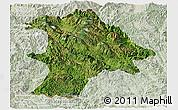 Satellite Panoramic Map of Lancang, lighten