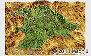 Satellite Panoramic Map of Lancang, physical outside