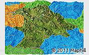 Satellite Panoramic Map of Lancang, political outside