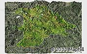 Satellite Panoramic Map of Lancang, semi-desaturated