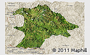 Satellite Panoramic Map of Lancang, shaded relief outside