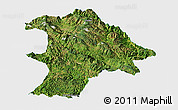Satellite Panoramic Map of Lancang, single color outside
