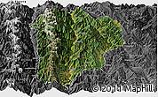 Satellite Panoramic Map of Lanping, desaturated
