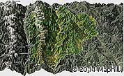 Satellite Panoramic Map of Lanping, semi-desaturated