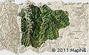 Satellite Panoramic Map of Lanping, shaded relief outside