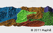Political Panoramic Map of Lianghe, darken
