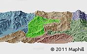 Political Panoramic Map of Lianghe, semi-desaturated