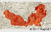 Political Panoramic Map of Lijiang, shaded relief outside