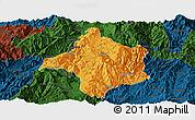 Political Panoramic Map of Lincang, darken