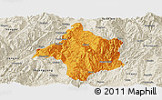 Political Panoramic Map of Lincang, shaded relief outside