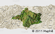 Satellite Panoramic Map of Lincang, shaded relief outside