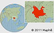 Savanna Style Location Map of Yunnan, hill shading