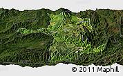 Satellite Panoramic Map of Longling, darken