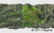 Satellite Panoramic Map of Longling, semi-desaturated