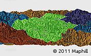 Political Panoramic Map of Luchun, darken