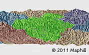 Political Panoramic Map of Luchun, semi-desaturated
