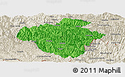 Political Panoramic Map of Luchun, shaded relief outside
