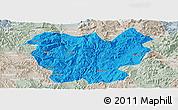 Political Panoramic Map of Lufeng, lighten, semi-desaturated