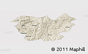 Shaded Relief Panoramic Map of Lufeng, cropped outside