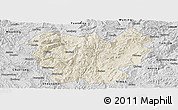 Shaded Relief Panoramic Map of Lufeng, desaturated