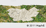 Shaded Relief Panoramic Map of Lufeng, satellite outside