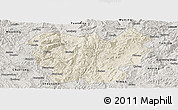 Shaded Relief Panoramic Map of Lufeng, semi-desaturated