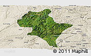 Satellite Panoramic Map of Luoping, shaded relief outside