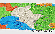 Shaded Relief Panoramic Map of Luoping, political outside