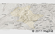 Shaded Relief Panoramic Map of Luoping, semi-desaturated