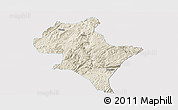 Shaded Relief Panoramic Map of Luoping, single color outside
